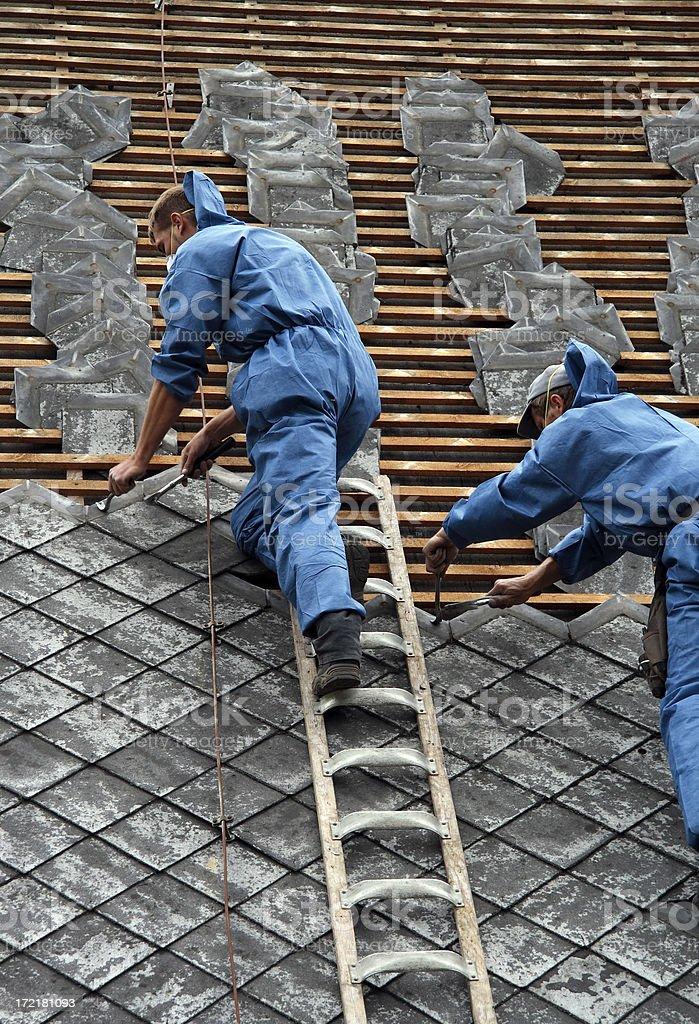 two roofer royalty-free stock photo