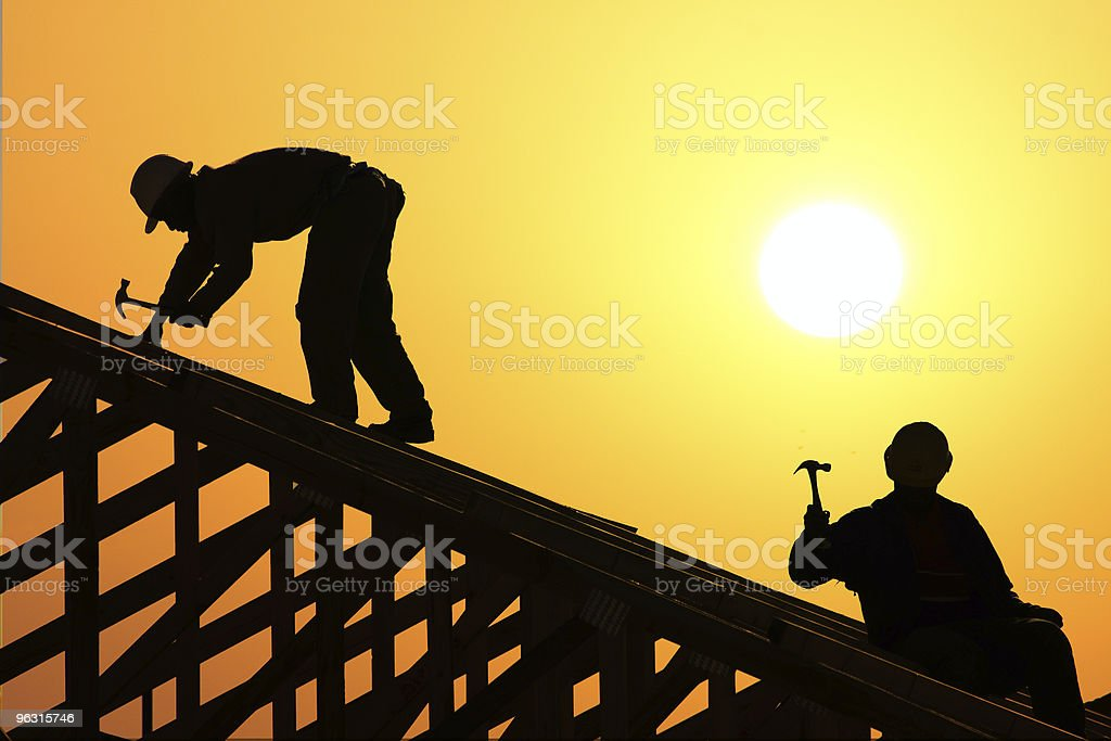 two roofer stock photo
