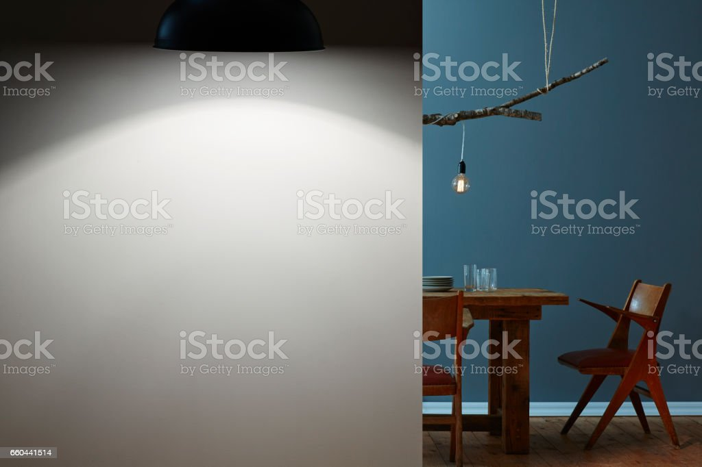two rooms at night dining table and concept lamp stock photo