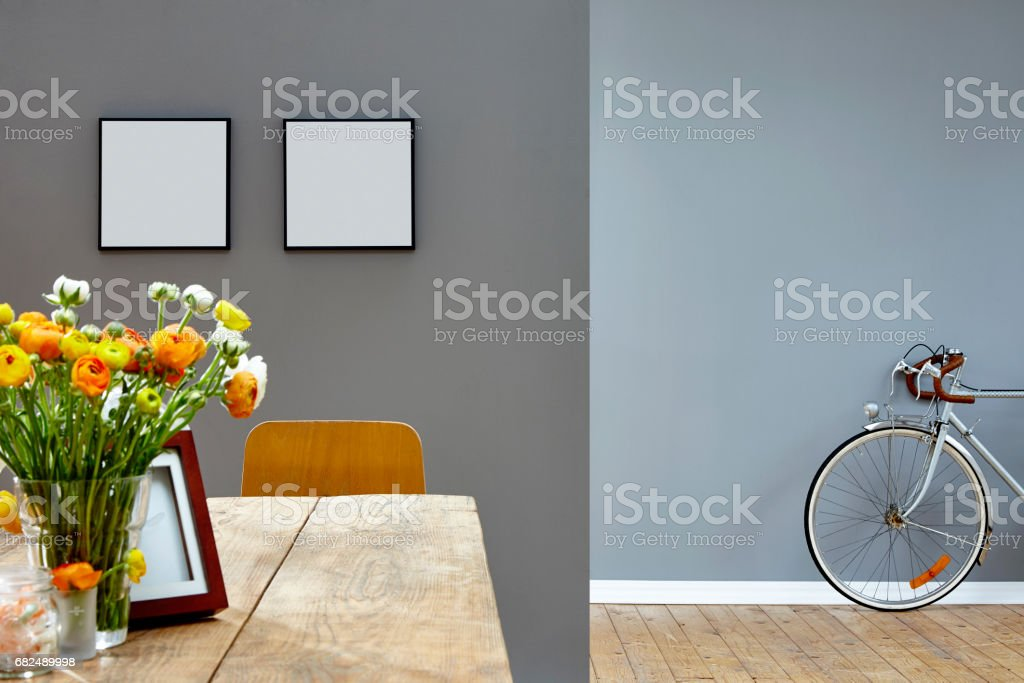 two rooms vivid dining room and vintage bike in corridor royalty-free stock photo