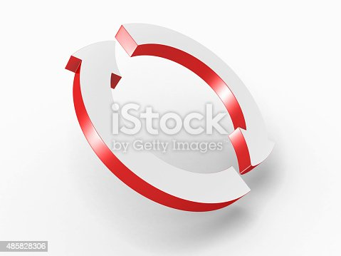 istock Two Round Cycled Red Arrows 485828306