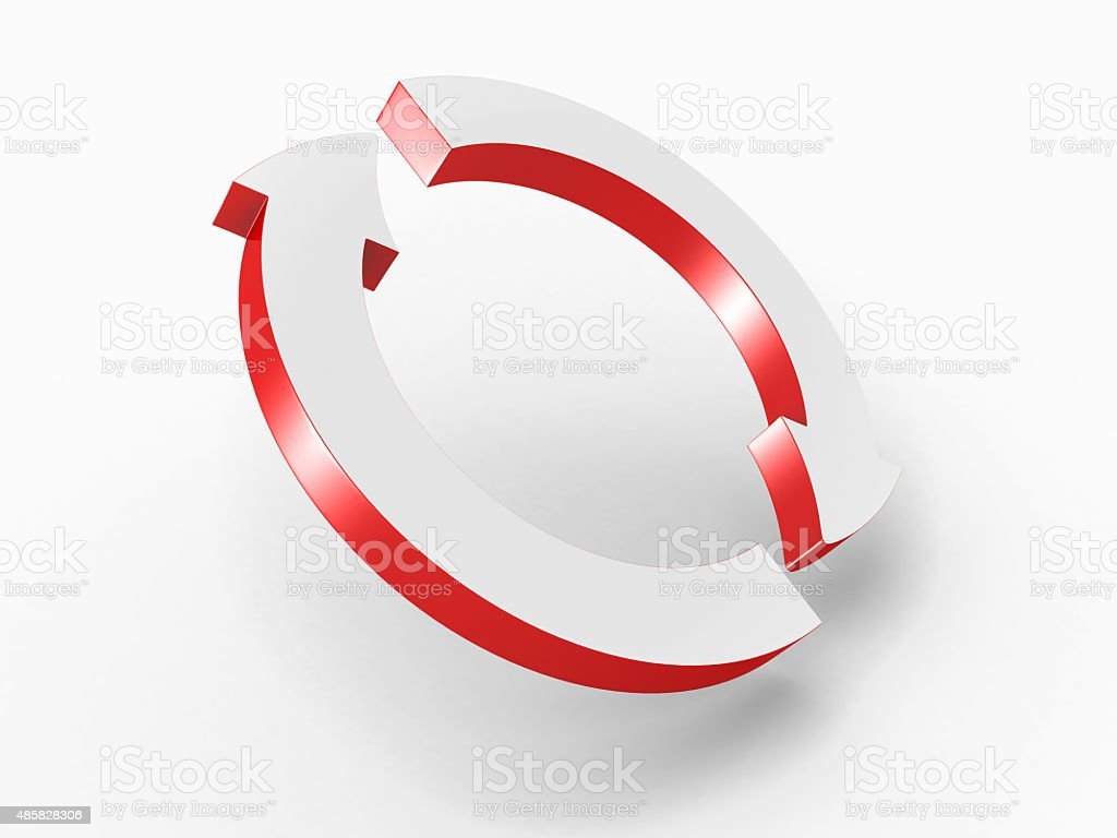 Two Round Cycled Red Arrows stock photo
