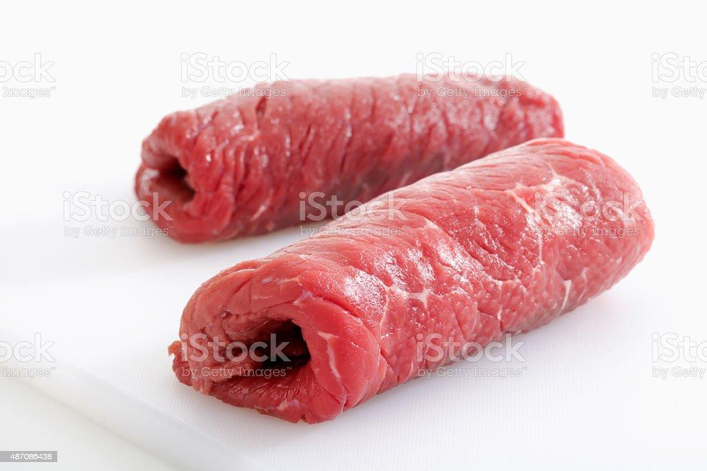 Two row beef roulades - foto de acervo