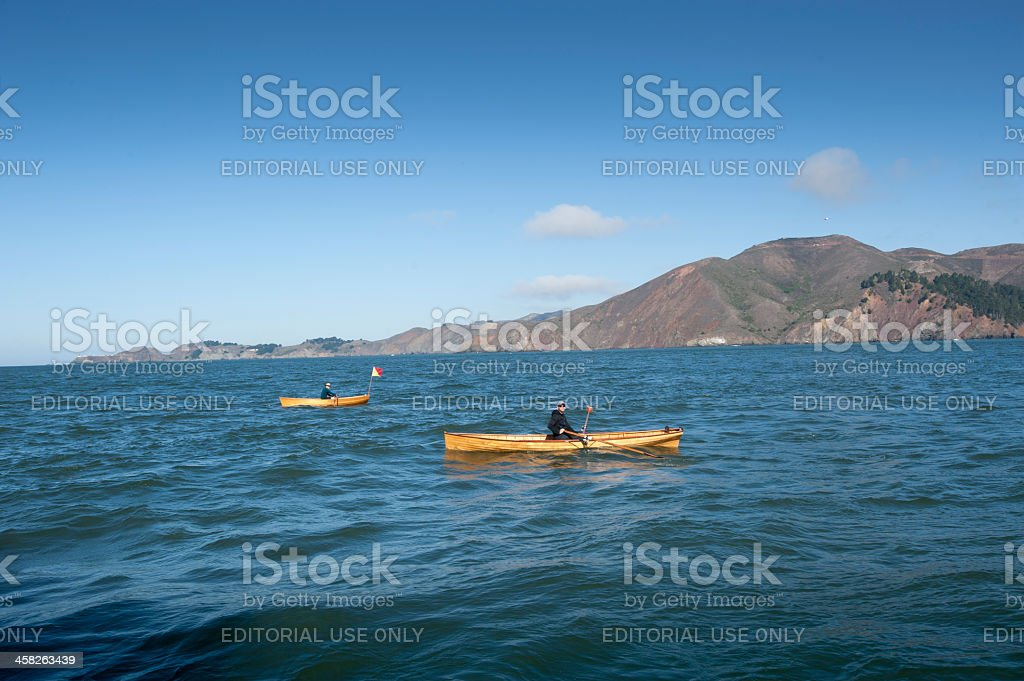 two rowboats near the Golden Gate royalty-free stock photo