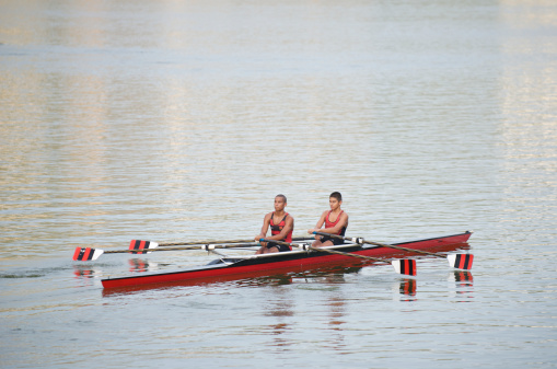 Two Rowers Red Rowing Boat Oars Out Rio de Janeiro