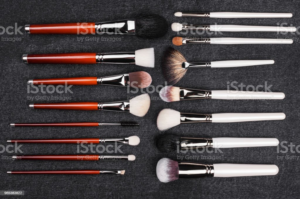 two rows of makeup brushes royalty-free stock photo