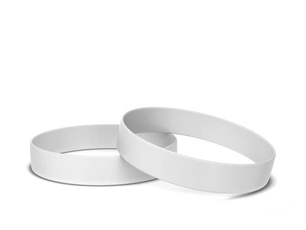 Two rubber bracelets Two rubber bracelets. 3d illustration isolated on white background silicon stock pictures, royalty-free photos & images
