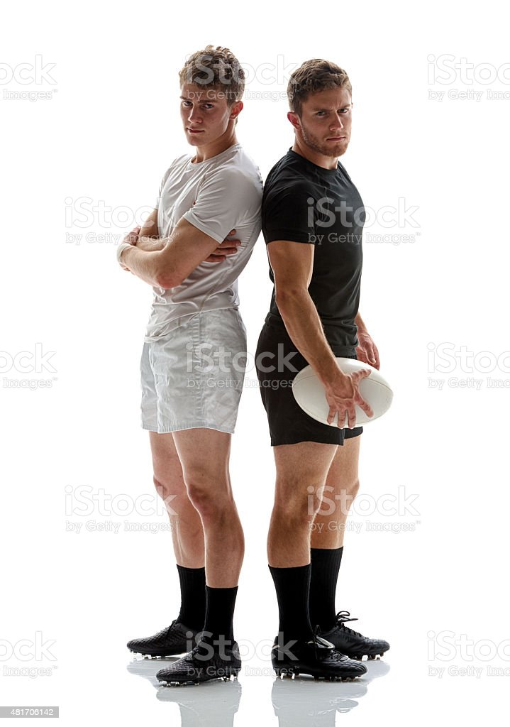 Two rugby players standing together stock photo