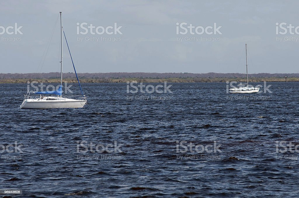 Two Sailboats on the Water royalty-free stock photo