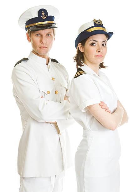 zwei segler - matrosin kostüm stock-fotos und bilder