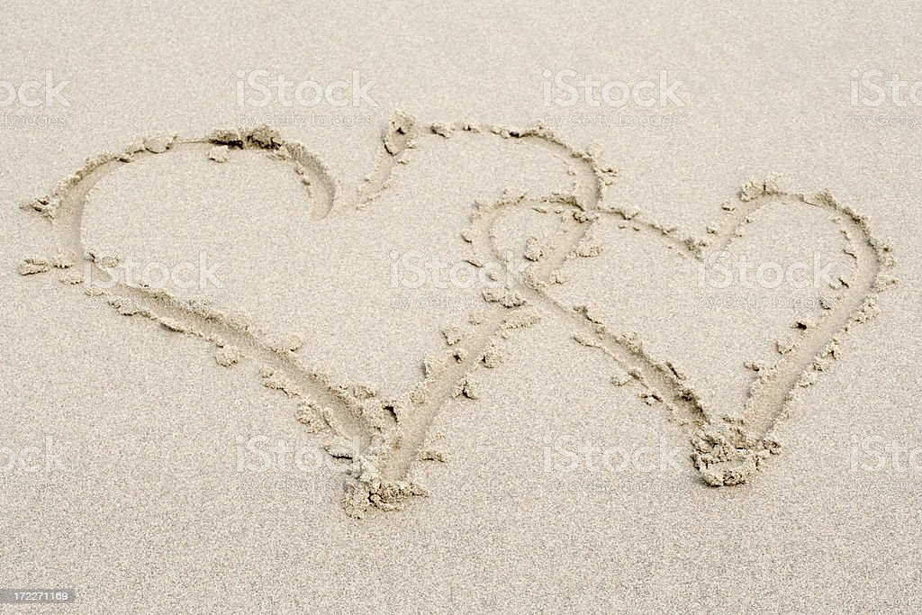 Two sand hearts # 4 royalty-free stock photo