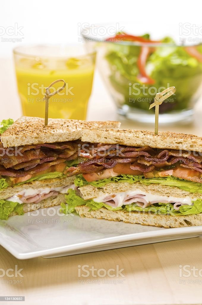 Two sandwich on plate with juice and salad bowl royalty-free stock photo