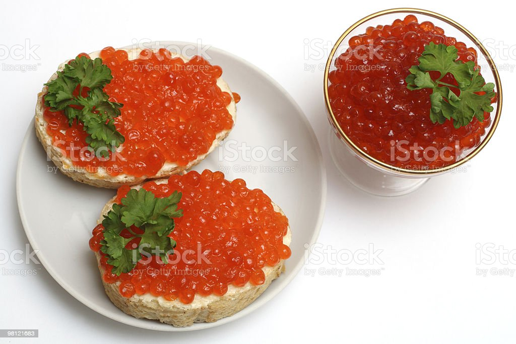 two sandwich with red caviar royalty-free stock photo