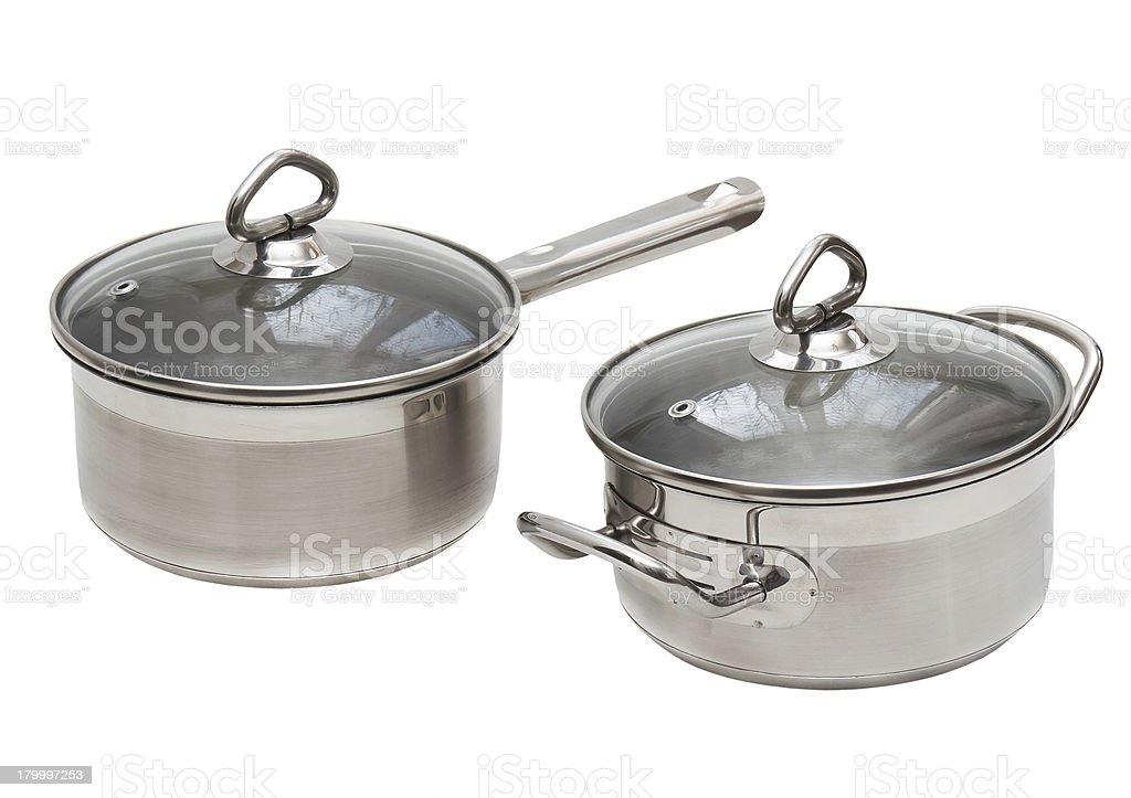 두 Saucepans, 스테인리스 스틸로 제조된. royalty-free 스톡 사진