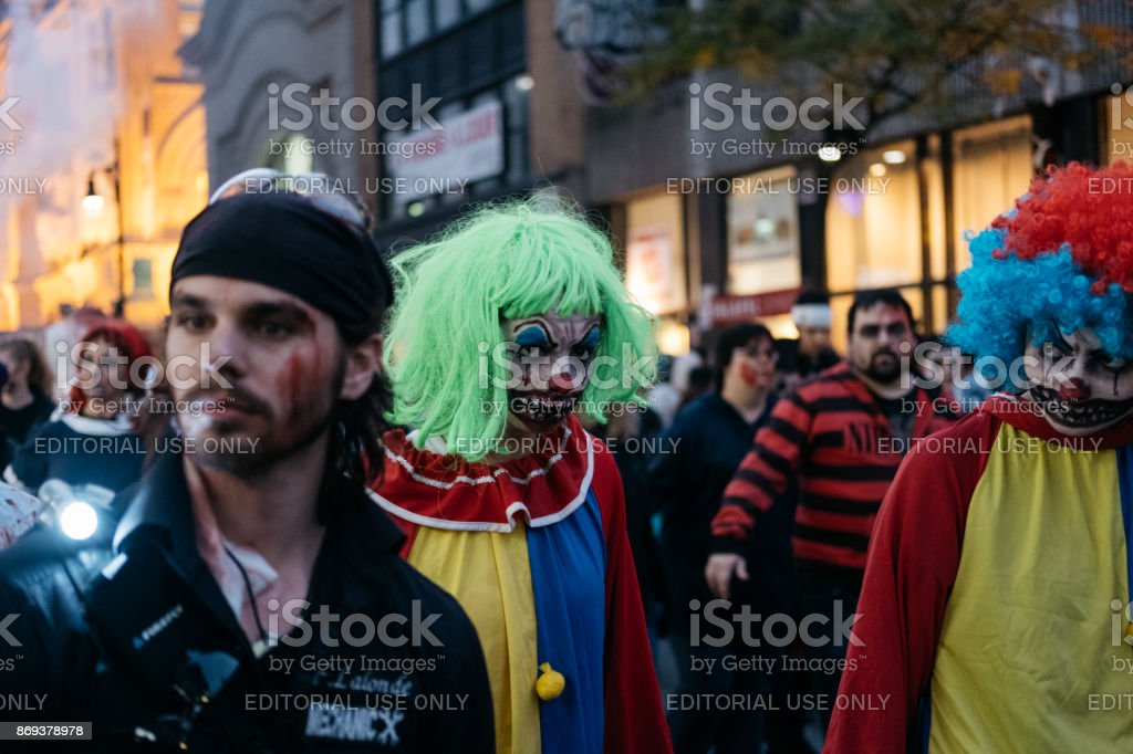 Two scary clowns during Montreal Zombie Walk stock photo