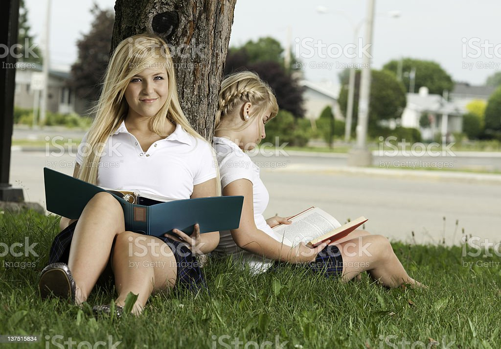 Two Schoolgirl Tree stock photo