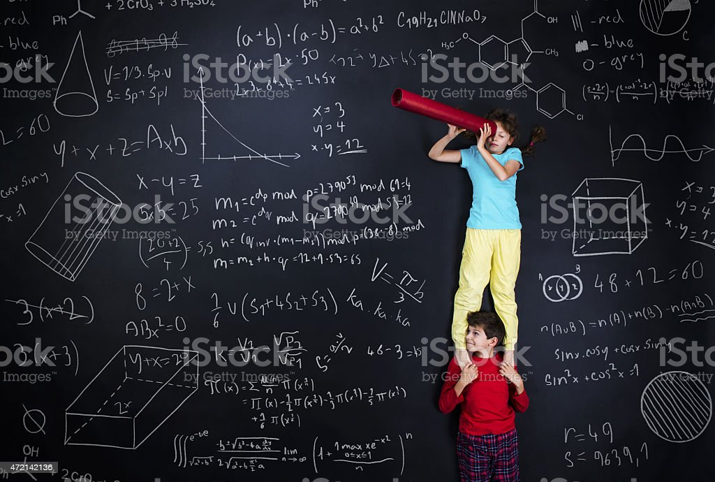 Two schoolkids learning stock photo