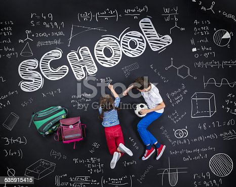 istock Two schoolkids learning 535915415