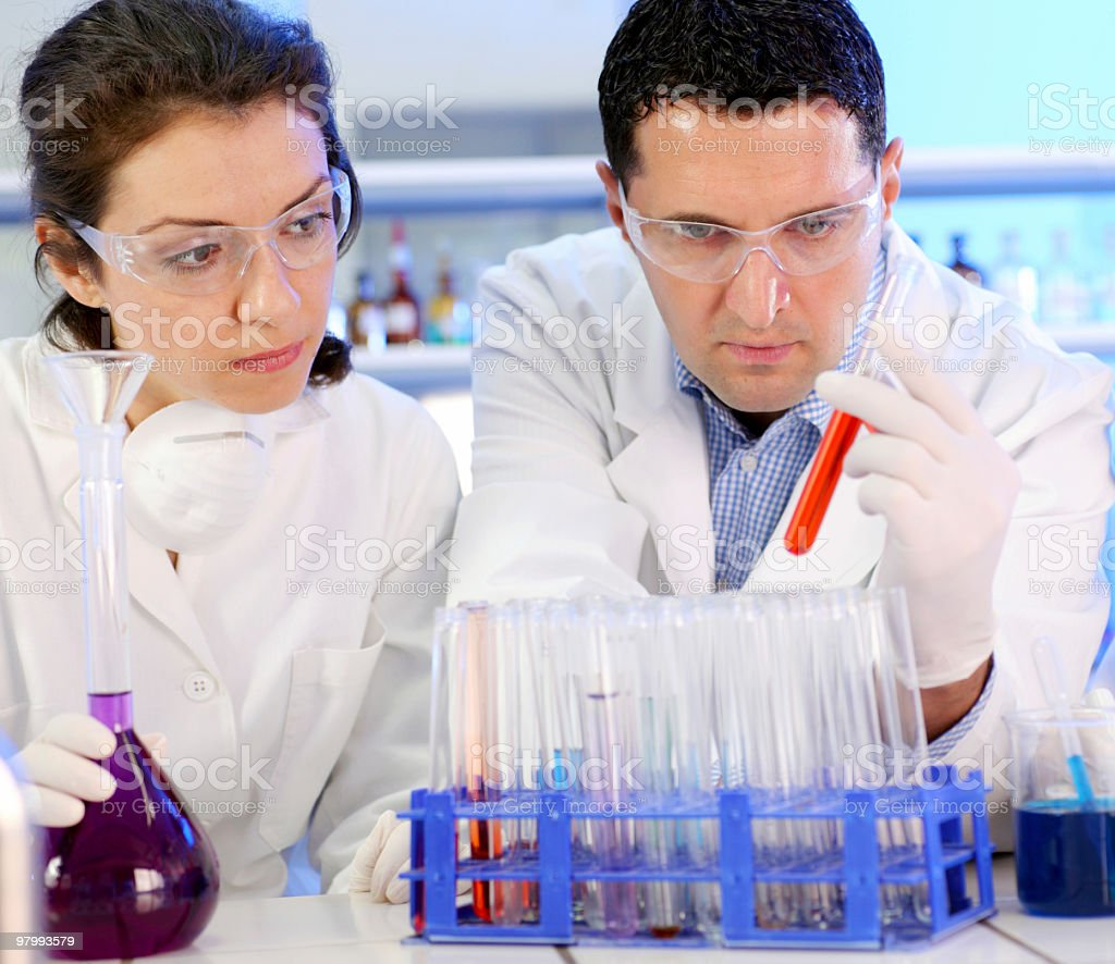 Two scientists working at the laboratory royalty-free stock photo