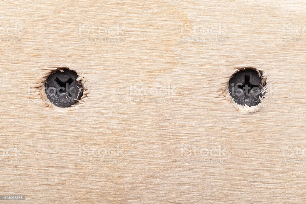 Two screws in rough wooden plank stock photo