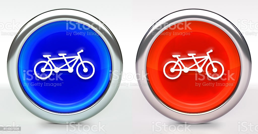 Two Seater Bicycle Icon on Button with Metallic Rim stock photo