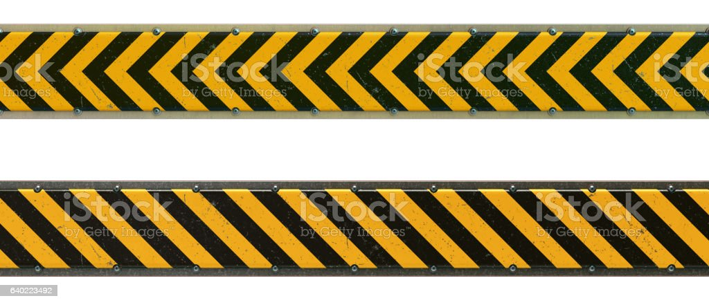 Two Security Barriers With Danger Stripes Isolated on White stock photo