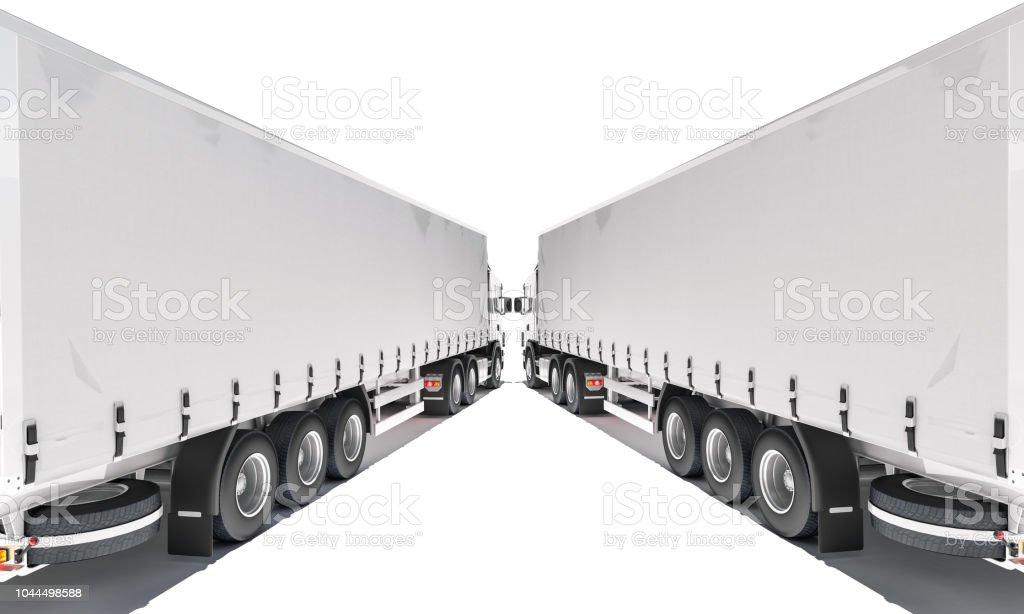 Two Semi Trailer Trucks Forming an Angular Shape stock photo