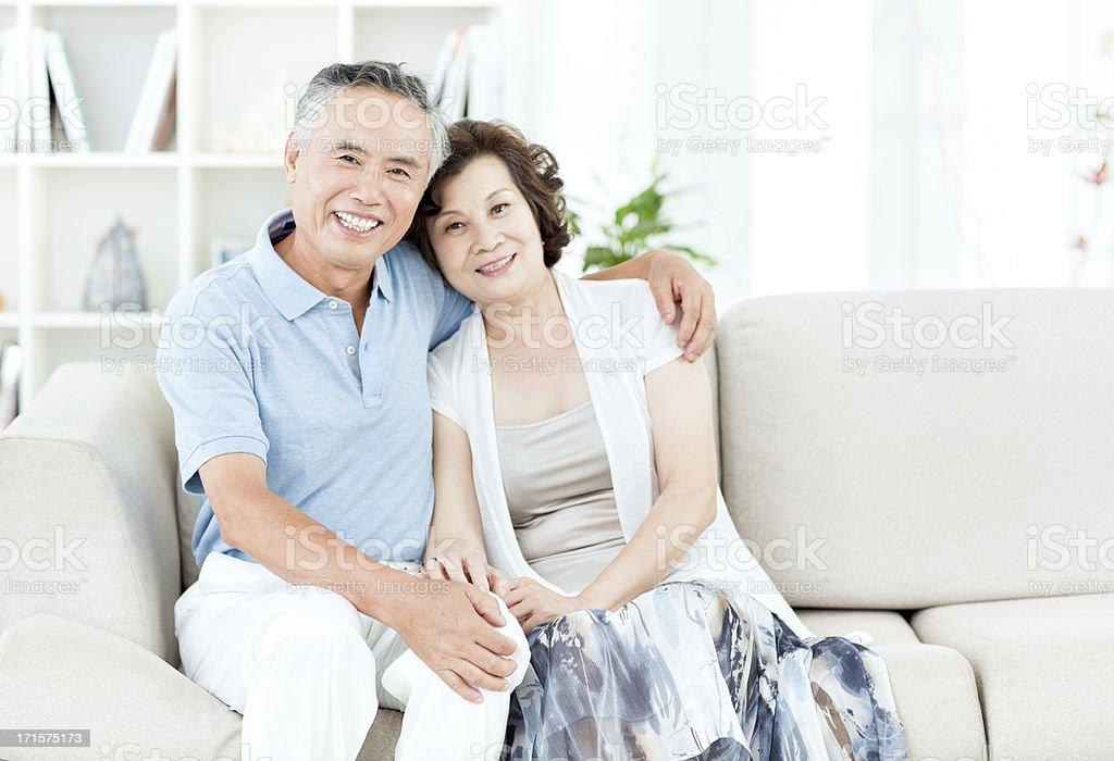 Two senior asian people stock photo