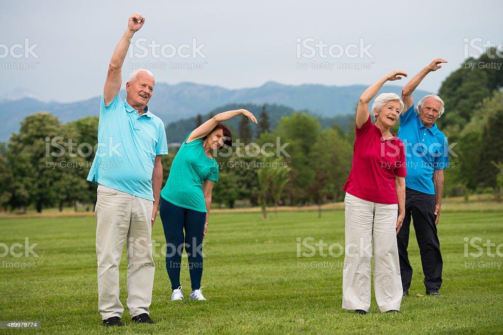 Two Senior Couple Exercising In Park stock photo
