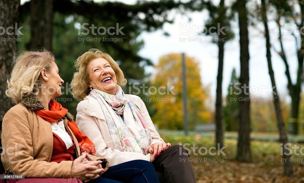 Two senior friends laughing at the park. stock photo