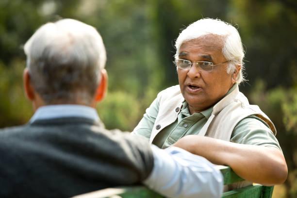 Two senior men discussing on park bench stock photo