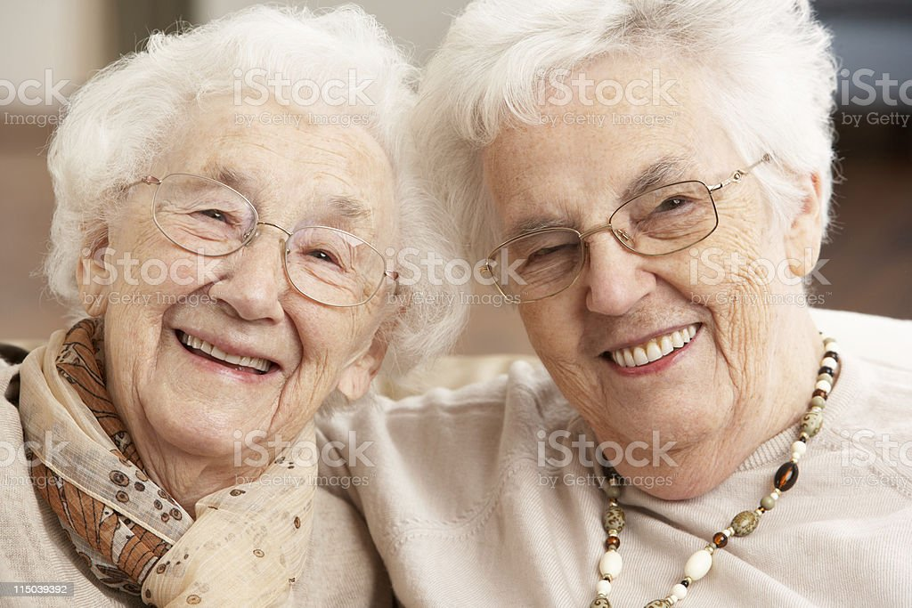 Two Senior Women Friends At Day Care Centre royalty-free stock photo