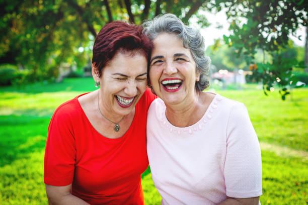 Two Senior Women Together stock photo