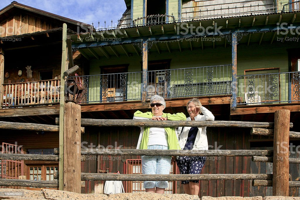 Two Seniors at Goldfields Ghost Town, Arizona stock photo
