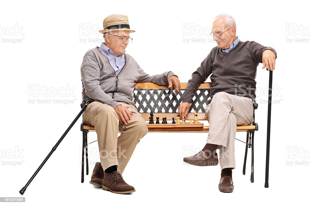 Two seniors playing chess seated on a bench stock photo