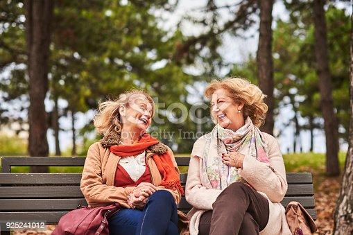 istock Two senoir woman at the park 925241012