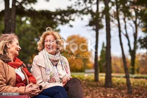 istock Two senoir woman laughing at the park 844232864