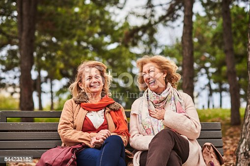 istock Two senoir woman laughing at the park 844233182
