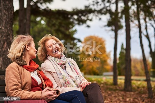 622427404 istock photo Two senoir woman laughing at the park 956012542
