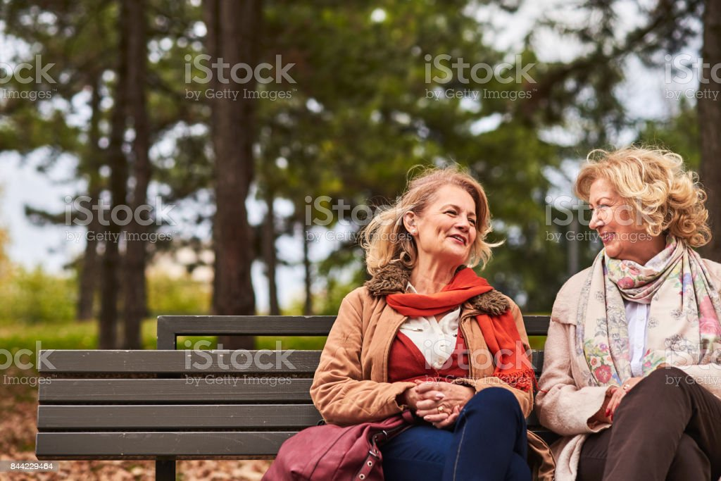 Two senoir woman talking stock photo