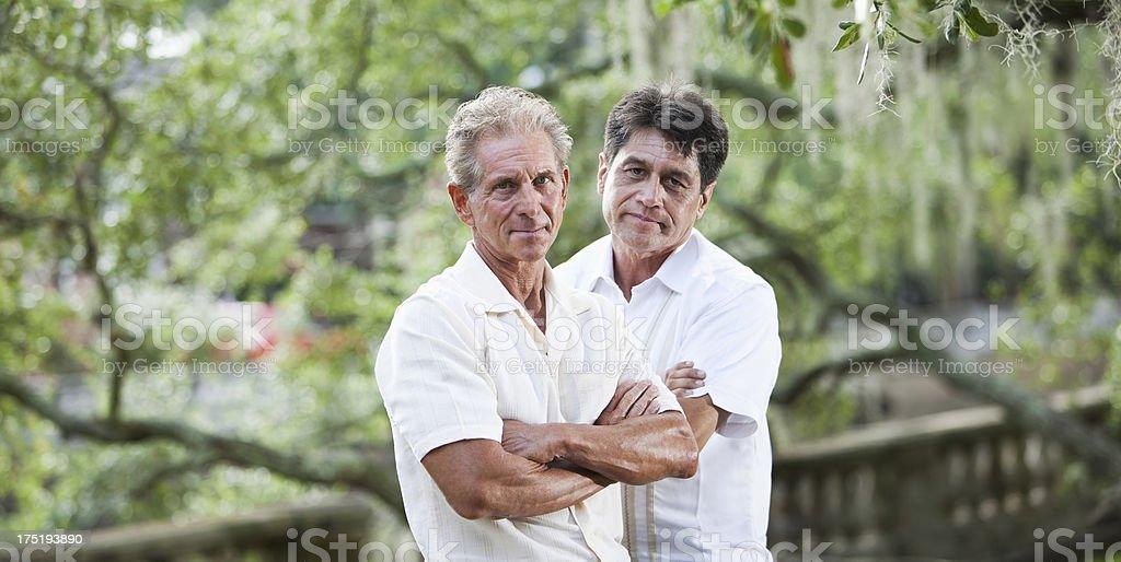 Two serious men stock photo