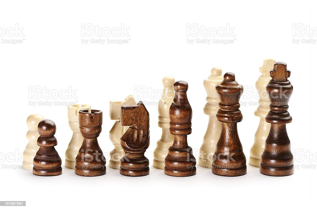 Two sets of chess pieces royalty-free stock photo