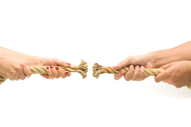Two sets of hands playing tug-of-war with a frayed rope  stock photo
