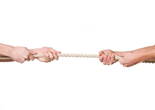 Two sets of hands tugging on a rope stock photo