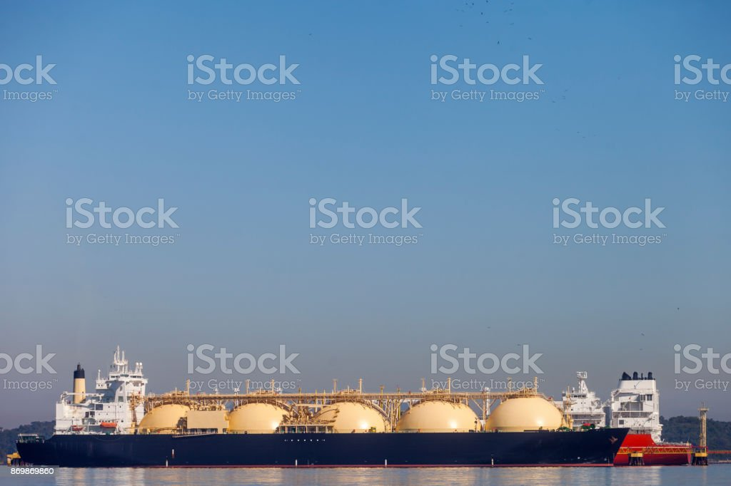 Two ships anchored stock photo