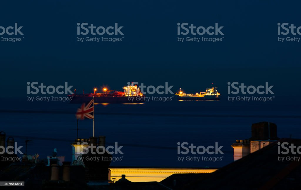 Two Ships and The Union Jack stock photo