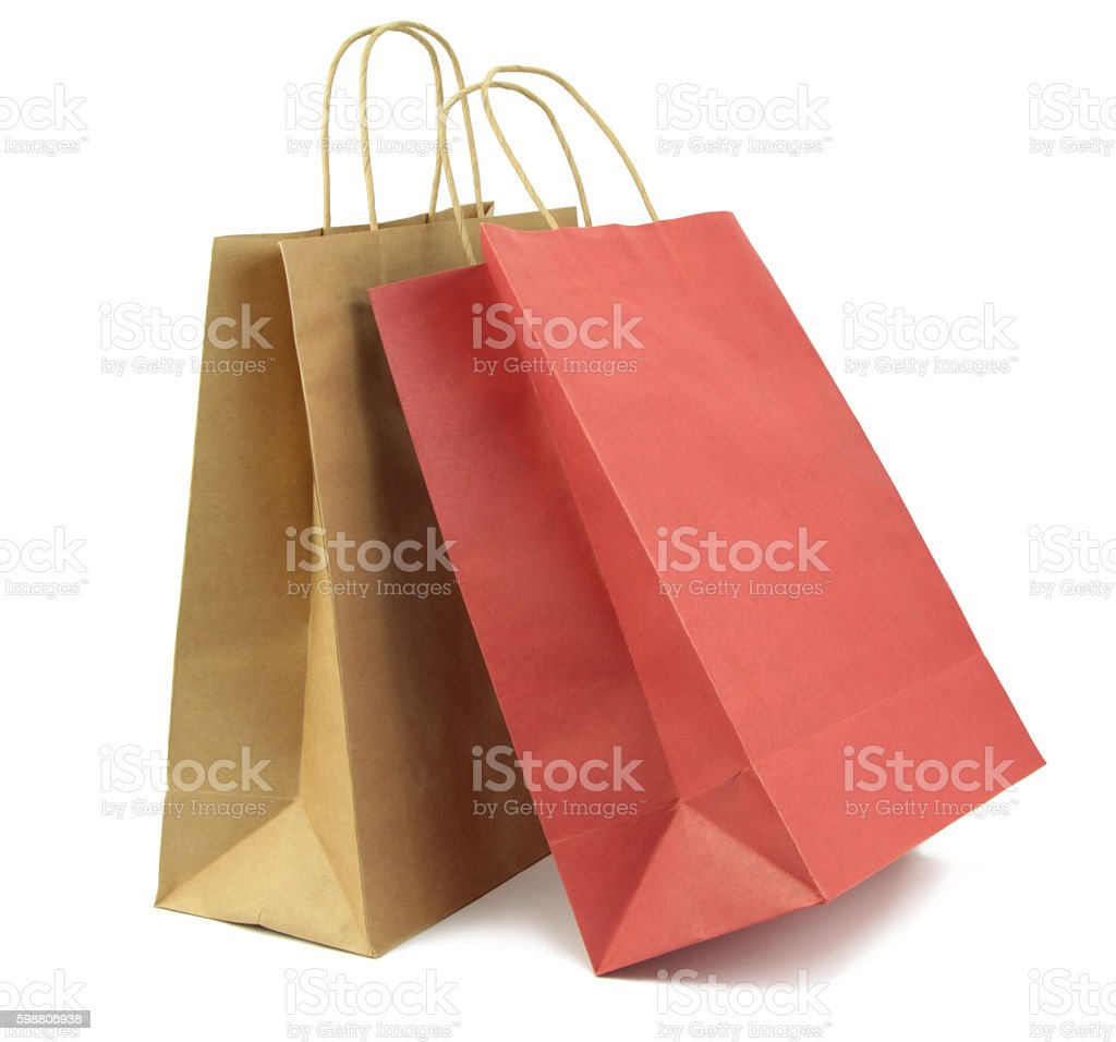 Two shopping bag isolated on white background. stock photo