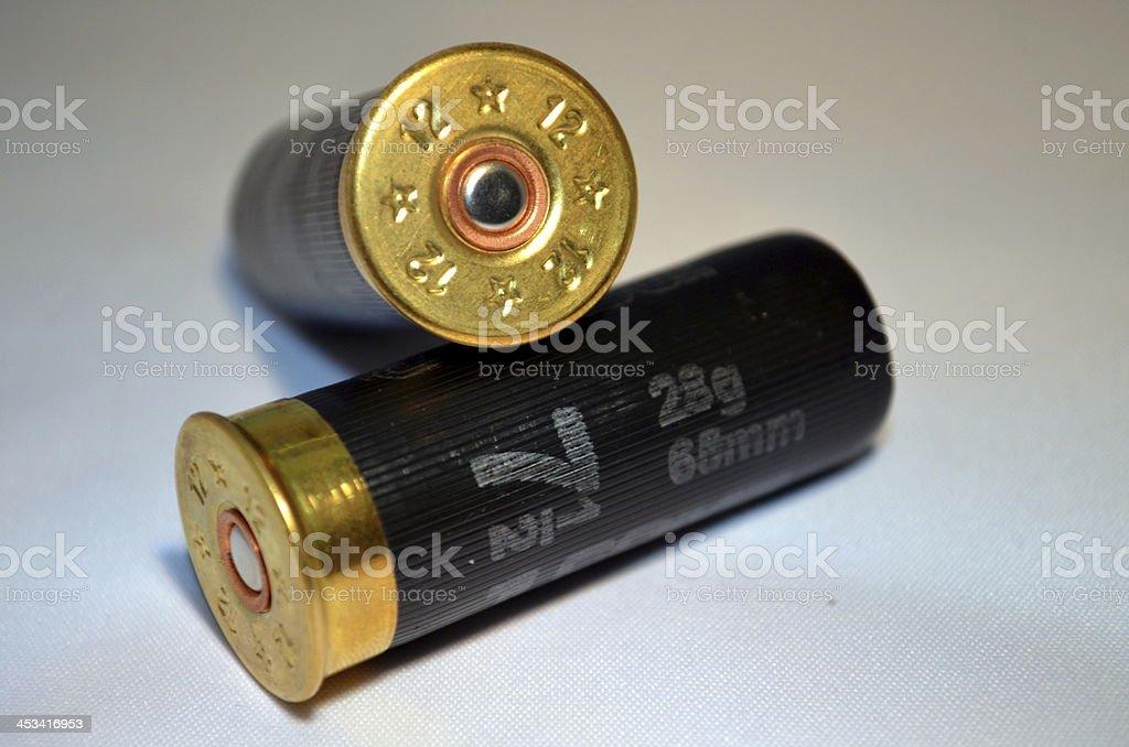 Two shotgun cartridges. stock photo