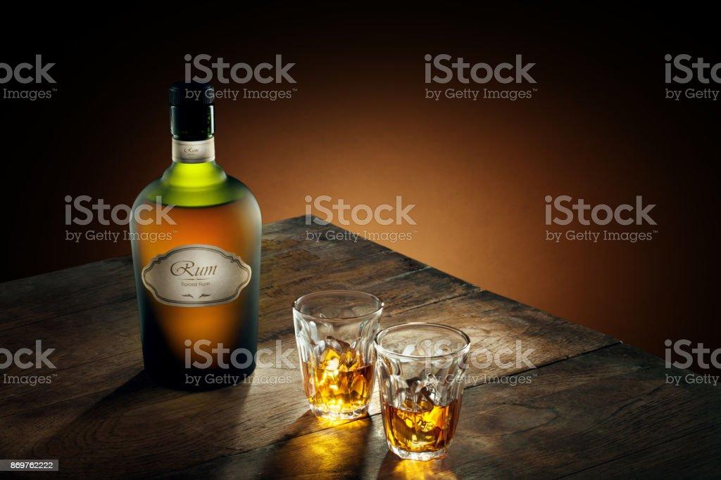 two shots rum stock photo