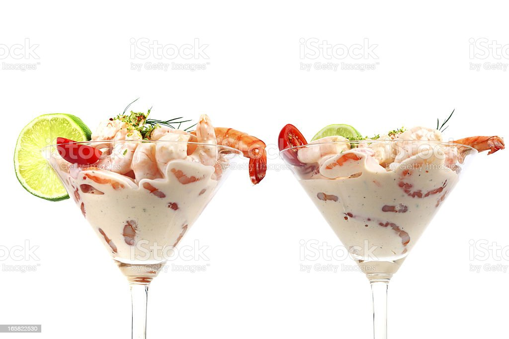 Two Shrimp Cocktails Isolated on White stock photo